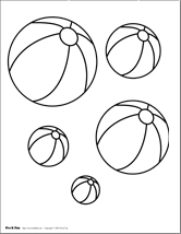 pre k fun - Beach Ball Coloring Page Printable